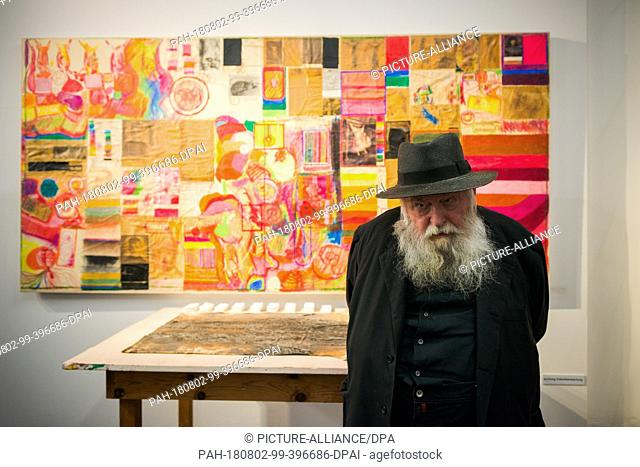 """01 August 2018, Austria, Mistelbach: The Austrian painter and action artist Hermann Nitsch stands in front of one of his works in the """"""""nitsch museum"""""""""""