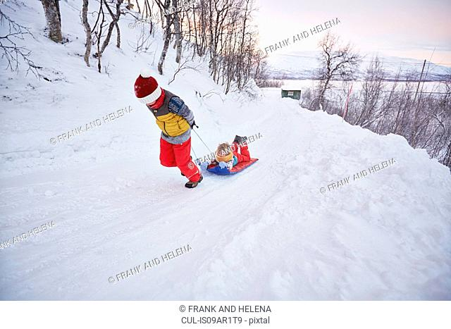 Boy pulling brother on toboggan up snow covered hill, Hemavan,Sweden