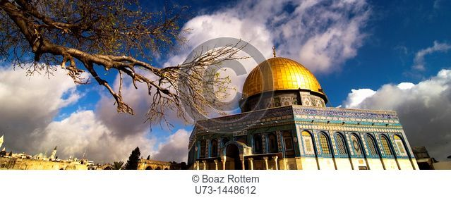 Panoramic view of the Dome of the Rock as seen from the temple mount. in the old city of Jerusalem