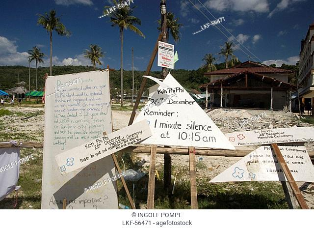 Reminder of tsunami on December 26, 2004, Ko Phi Phi Don, Ko Phi Phi Island, Krabi, Thailand