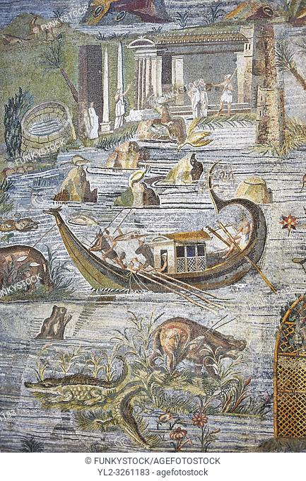 Detail picture of a boat on the Nile from the famous Hellenistic Roman Palestrina Nilotic landscape Mosaic or Nile mosaic of Palestrina 1st or 2nd century BC