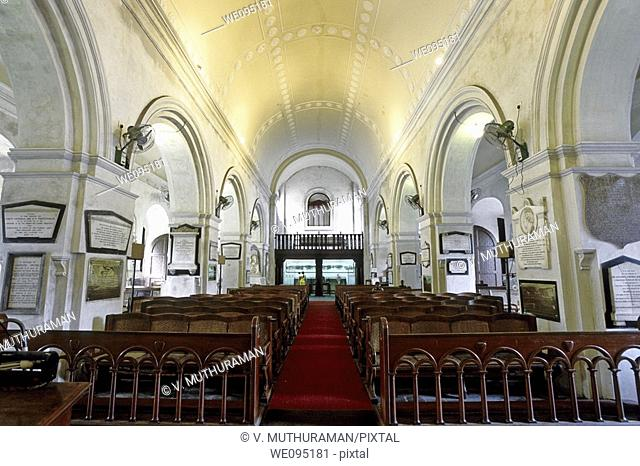 Interior- St Mary's Church in Fort St George, Chennai, Madras, Tamil Nadu. Oldest Anglican church in India