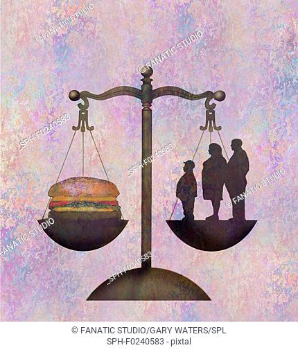 Conceptual illustration of an overweight family and a hamburger on weighing scales depicting unhealthy diet and obesity
