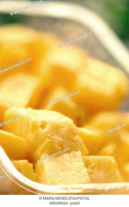 Pineapple chunks. Ananas comosus. January 2007, Maryland, USA