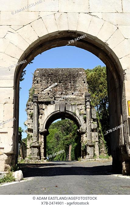 Rome. Italy. Arch of Drusus, seen through Porta San Sebastiano