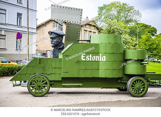 Estonia, the first armored vehicle built in the country and bust of Admiral Pitka, Estonian military commander from the Estonian War of Independence until World...