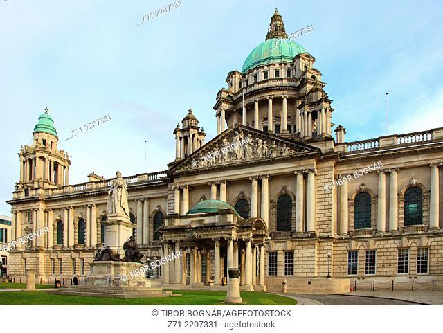 UK, Northern Ireland, Belfast, City Hall,