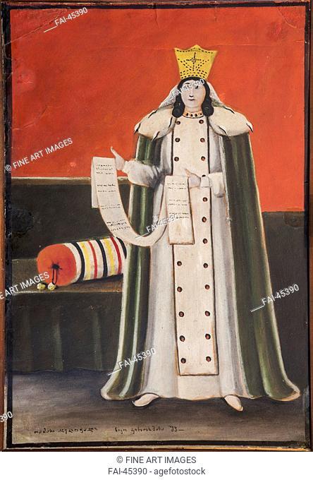 Queen Tamar by Pirosmani, Niko (1862-1918)/Oil on cardboard/Primitivism/1913-1914/Georgia/Niko Pirosmanashvili Museum, Mirzaani/90x70/Portrait/Painting/Königin...