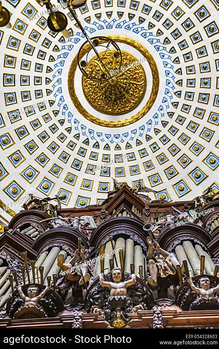 Organ Basilica Ornate Coloful Ceiling Cathedral Puebla Mexico. Built in 15 to 1600s