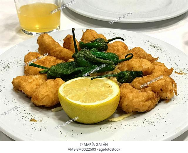 Fritos de Pixin: fried monkfish with Padron peppers. Asturias, Spain