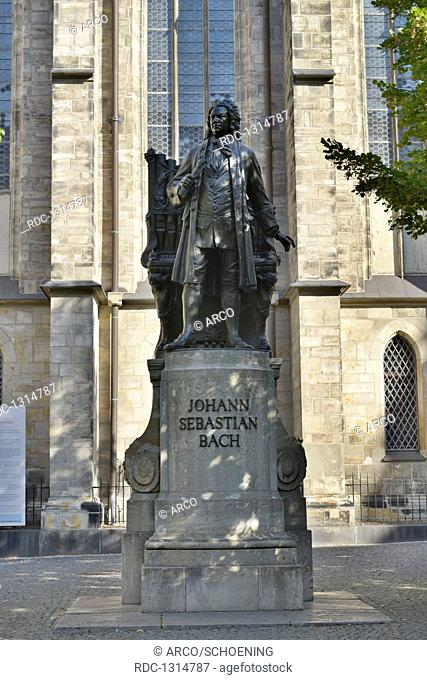 Denkmal, Johann Sebastian Bach, Thomaskirche, Thomaskirchhof, Leipzig, Sachsen, Deutschland