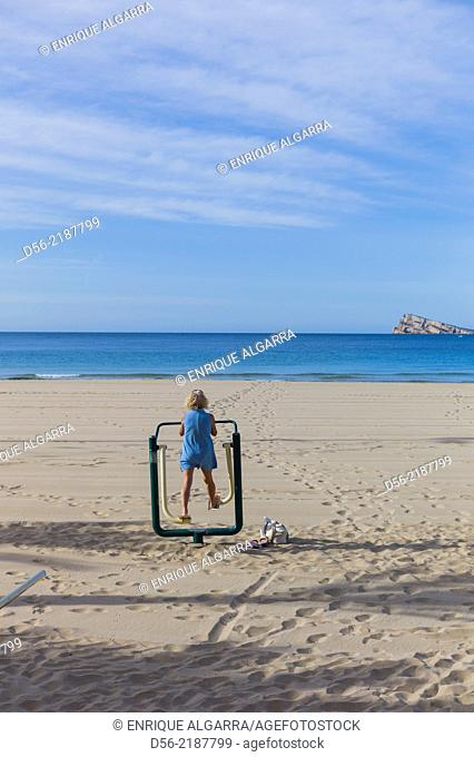 People doing exercises at the beach, Benidorm, Alicante province, Spain