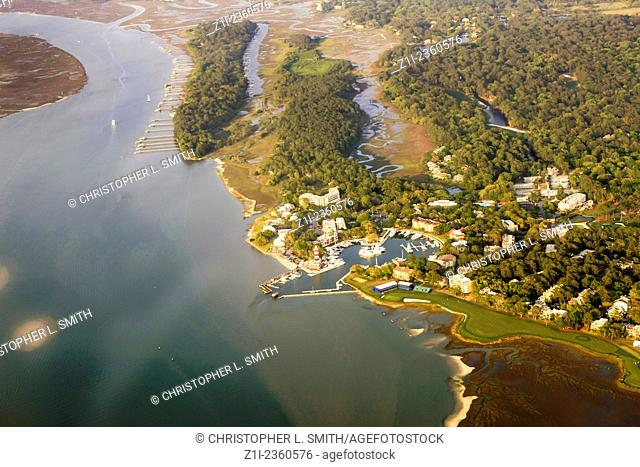 Aerial view of Harbour Town at Sea Pines on Hilton Head Island SC
