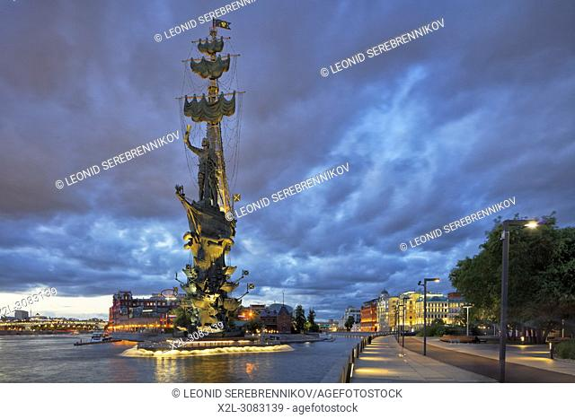 Peter the Great Statue, a 98-metre-high monument to Russian Tsar Peter I, illuminated at dusk. Krymskaya Embankment, Moscow, Russia