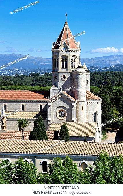 France, Alpes Maritimes, Lerins Islands, Saint Honorat island, Abbey of Lerins, the abbey church and monastery