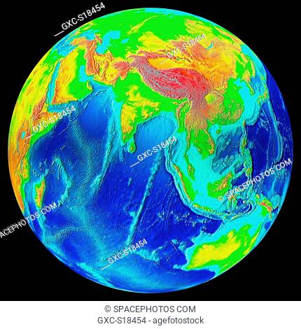 Earth in Space, one can see Asia, China, Thailand, Australia, Indonesia, the Indian Ocean, Saudi Arabia, Africa. The marine and terrestrial reliefs are...
