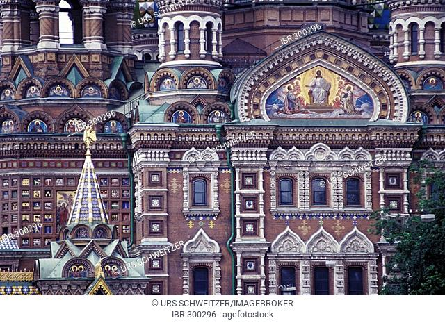 Cathedral of the Resurrection of Christ, Church of the Savior on Blood, detail of the facade, St. Petersburg, Russia, Eastern Europe, Europe