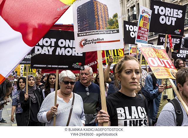 Not One Day More - Tories Out National Demonstration, an Anti-Government and Teresa May protest organised by an anti-austerity campaign group The People's...