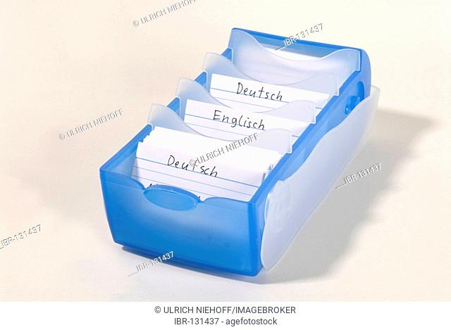 Card index box with vocabulary cards