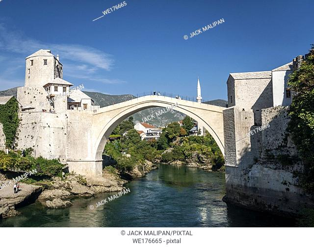 old bridge famous landmark in mostar town bosnia and herzegovina by day