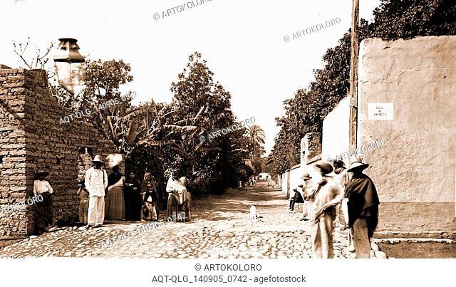 Street scenes in Cuautla, Jackson, William Henry, 1843-1942, Streets, Mexico, Cuautla, 1880