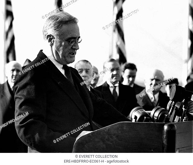 President Franklin D. Roosevelt, at the laying of a cornerstone at the Lincoln Memorial, November, 1939