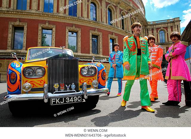 The Bootleg Beatles attend a photocall with the late John Lennon's psychedelic Rolls-Royce Phantom car. The photocall marks the 50th anniversary of The Beatles'...