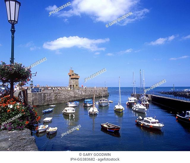 Picturesque harbour in the fishing village of Lynmouth at the mouth of the River Lyn