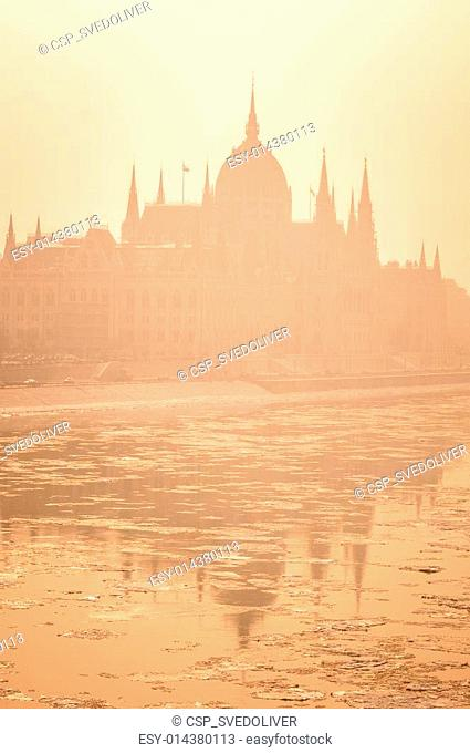 The hungarian parliament in fog