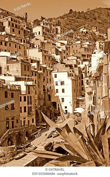Italy. Liguria region. Cinque Terre. Riomaggiore village. In Sepia toned. Retro style