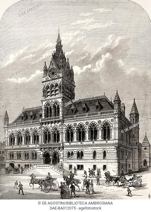 Town Hall, Chester, United Kingdom, illustration from the magazine The Illustrated London News, volume LV, October 16, 1869