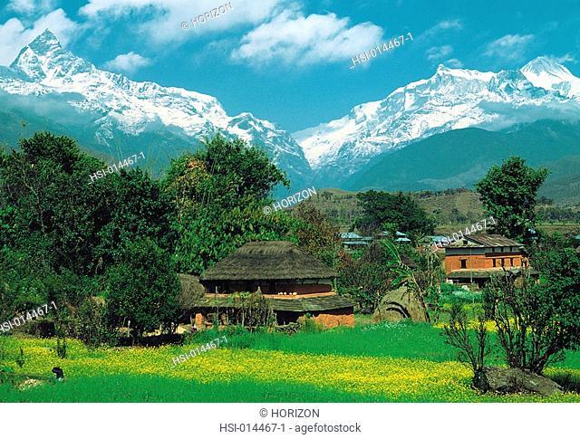 Travel, Nepal, Himalayas, Village near Pokhara