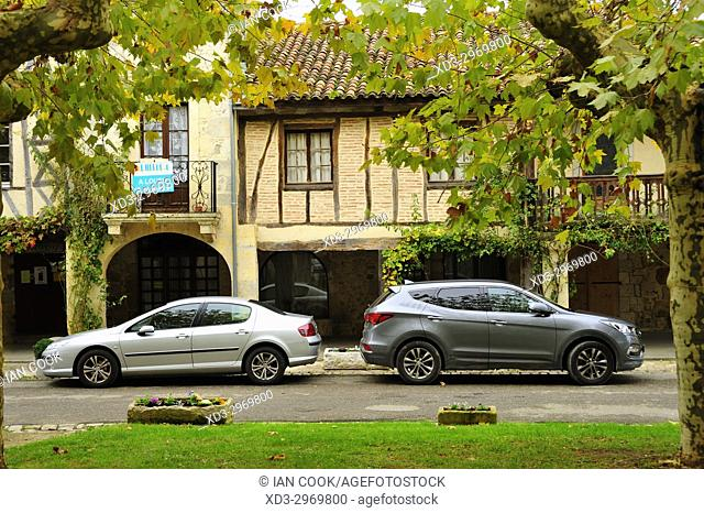 parked cars in Fources, Gers Department, Occitanie, France