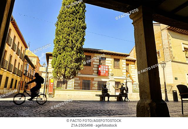 Cervantes birthplace museum at Calle Mayor street. Alcala de Henares. Community of Madrid, Spain