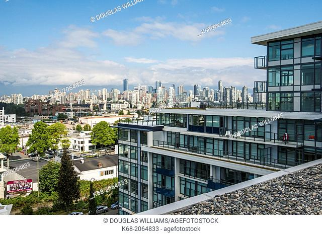 View of Vancouver from the roof of a building at 7 Ave and Burrard Street, Vancouver, BC, Canada