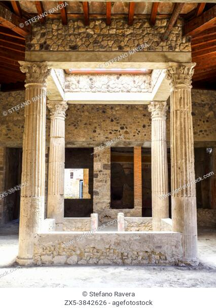 Entrance to the atrium in the House of the Ephebus (Casa dell'Efebo) - Pompeii archaeological site, Italy