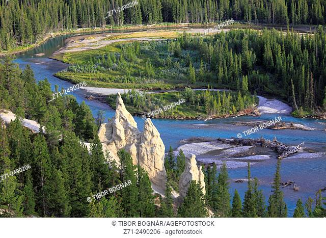 Canada, Alberta, Banff National Park, Bow River, hoodoos,