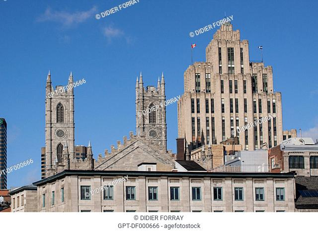 TOWERS OF THE NOTRE-DAME BASILICA, A NEO-GOTHIC STYLE EDIFICE, CONTRASTING WITH THE ALDRED BUILDING, OR EDIFICE DE LA PREVOYANCE, BUILT BETWEEN 1929 A 1931