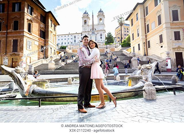 Couple at the Spanish steps. Rome, Italy