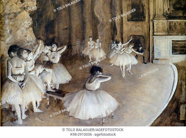 Edgar Degas (1834-1917), . Répétition d'un ballet sur la scène, . 1874, . Huile sur toile, Orsay Museum, Paris, France, Western Europe