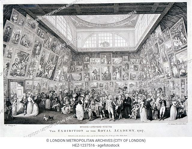 Interior view of Somerset House showing an exhibition of the Royal Academy of Arts in 1787, with paintings lining the walls from floor to ceiling and a large...