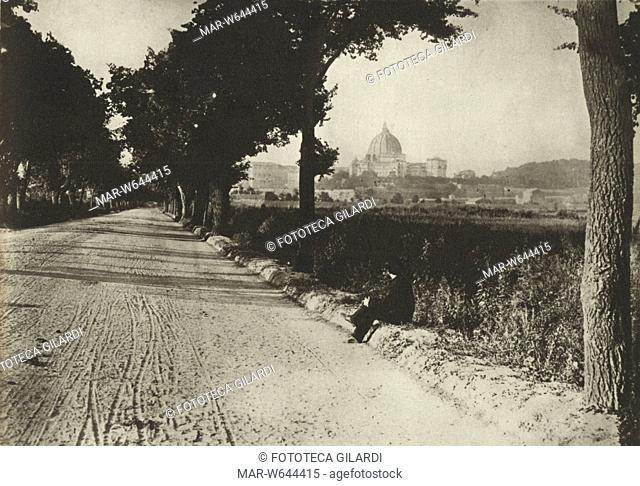 ROMA Veduta della Basilica di San Pietro in Vaticano da viale Angelico, fuori le mura, 1880 circa,,Copyright © Fototeca Gilardi