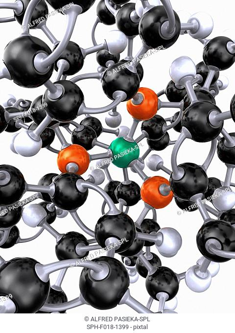 Detail of the ball and stick 3D model of the tetrakis(triphenylphosphine)palladium(0) molecule or tetrakis(triphenylphosphine)platinum(0) molecule