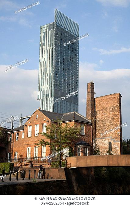 Beetham Tower and Local Architecture in Manchester, England, UK