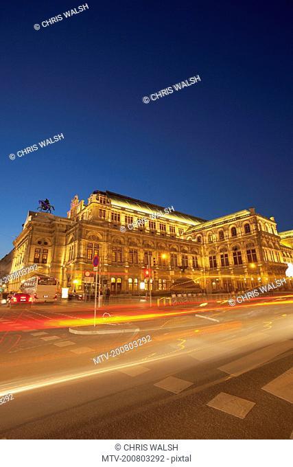 Tram night movement blur motion Vienna opera house
