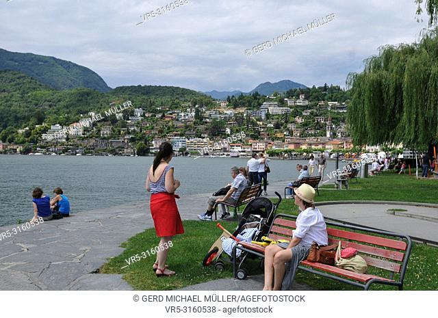South Switzerland: The lake promenade in Ascona next to Locarno City,where the film festival takes place