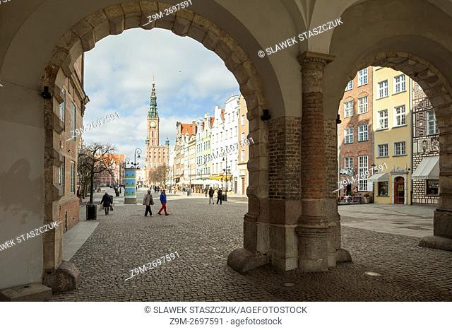 Looking towards town hall from Green Gate, Gdansk old town, Pomerania, Poland