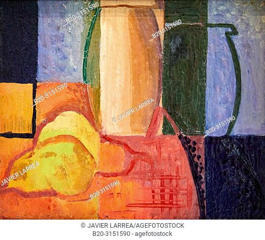 """""""""""""""Still life with two vases and two pears"""""""", c. 1929, Pere Daura, National Museum of Catalan Art, Museu Nacional d Art de Catalunya, MNAC, Barcelona, Spain"""