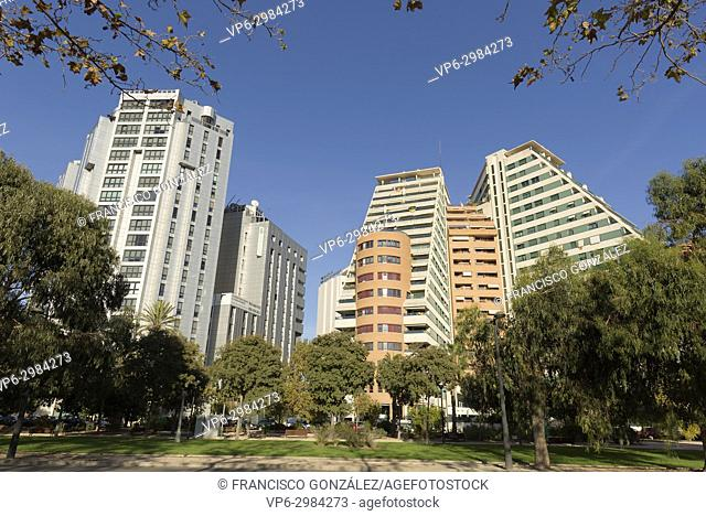 Buildings in the city of Valencia, capital of the Valencia community in Spain