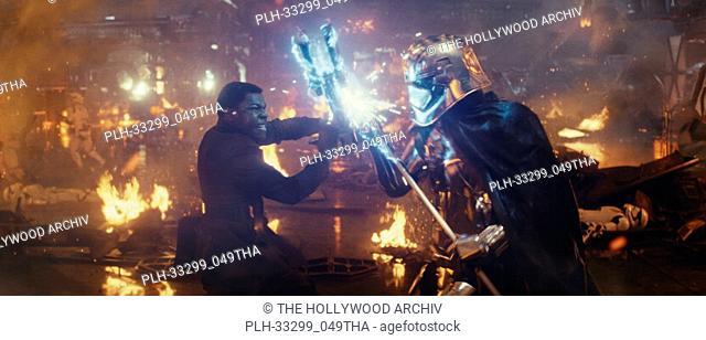 """""""Star Wars: The Last Jedi"""" (2017) L to R: Finn (John Boyega) battling Captain Phasma (Gwendoline Christie) Lucasfilm Ltd"